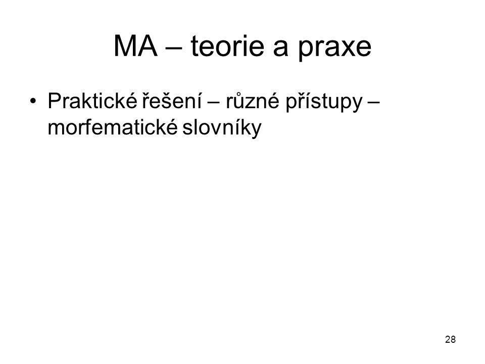 MA – teorie a praxe Praktické řešení – různé přístupy – morfematické slovníky