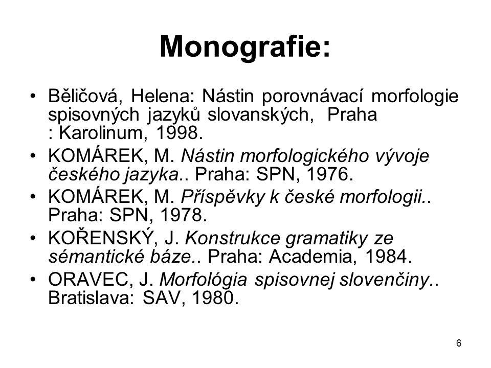 Monografie: Běličová, Helena: Nástin porovnávací morfologie spisovných jazyků slovanských, Praha : Karolinum, 1998.