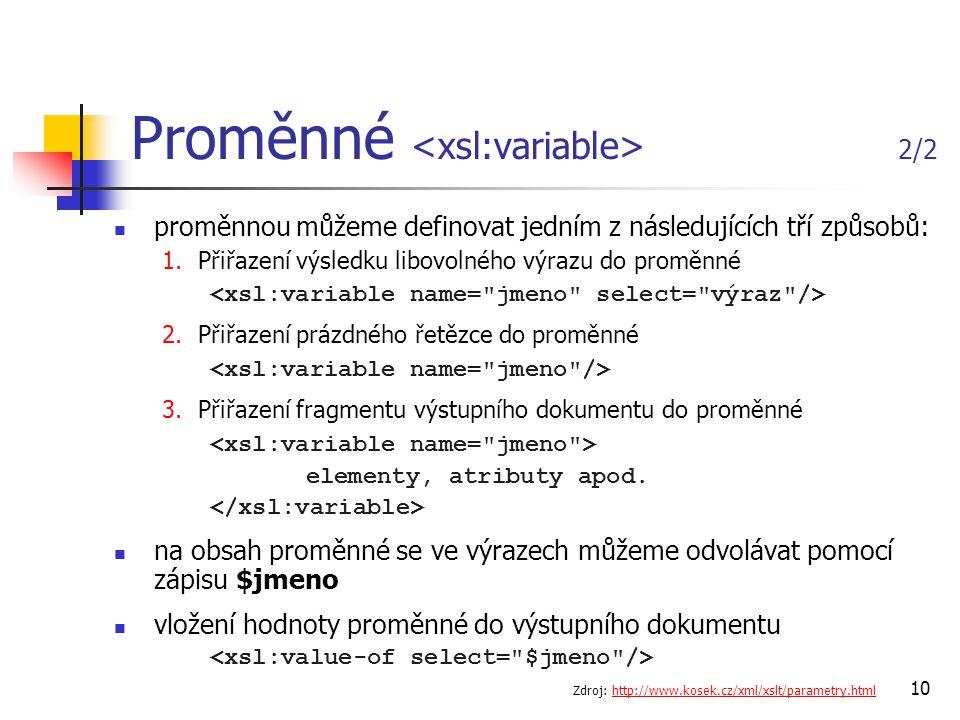 Proměnné <xsl:variable> 2/2