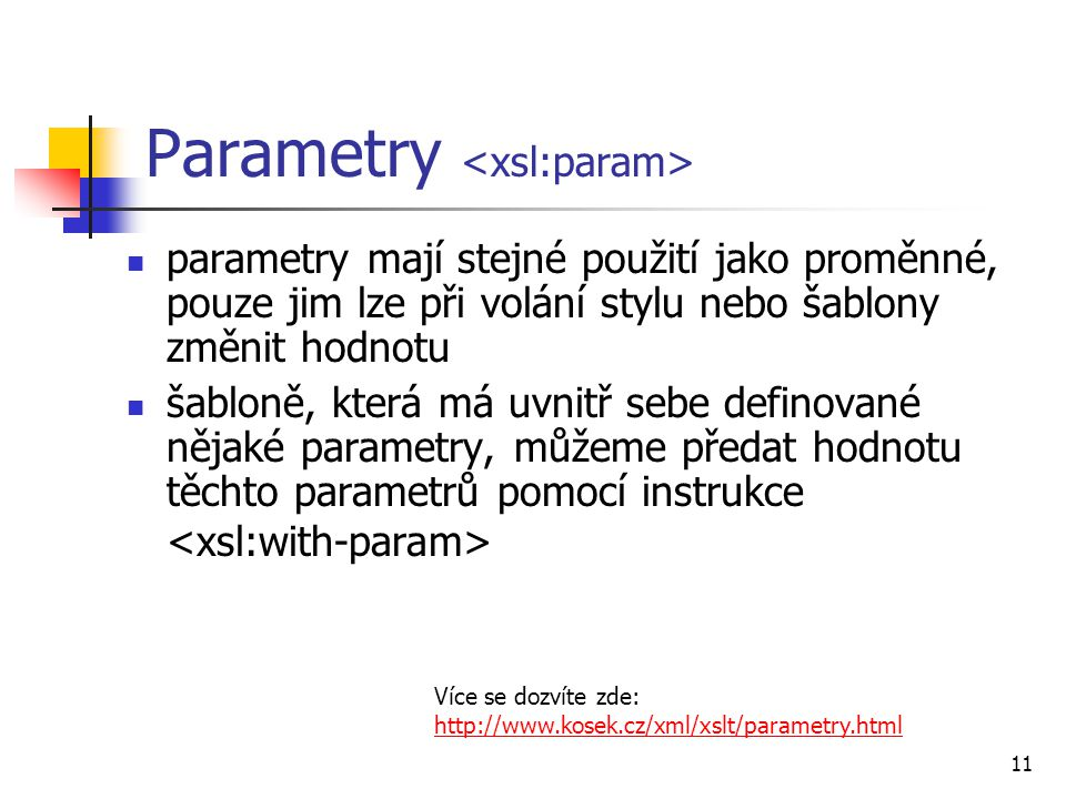 Parametry <xsl:param>