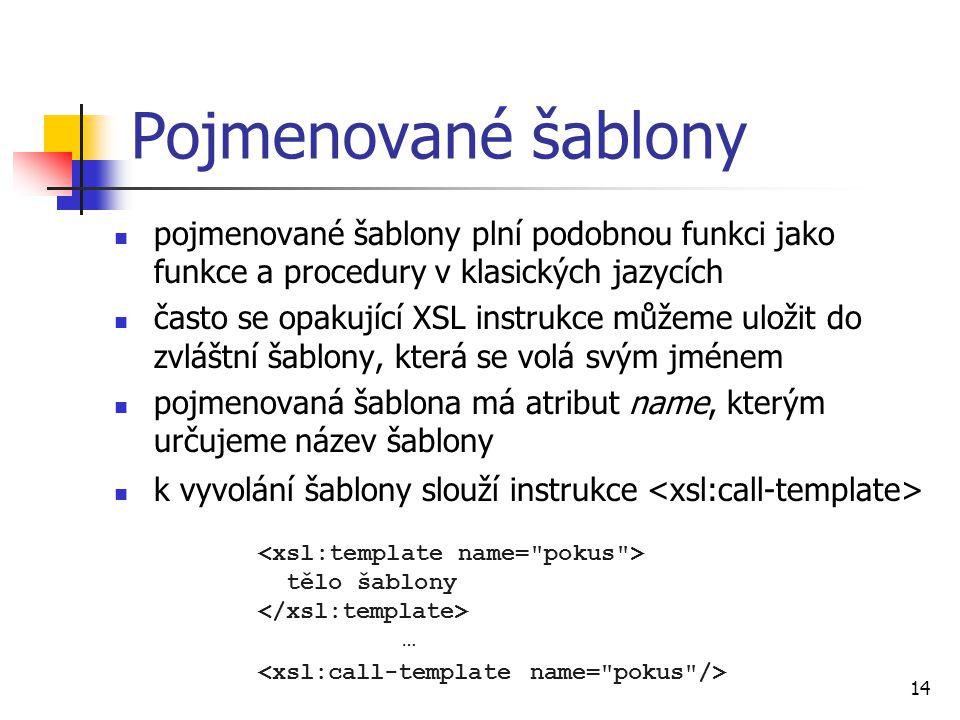 Pojmenované šablony pojmenované šablony plní podobnou funkci jako funkce a procedury v klasických jazycích.