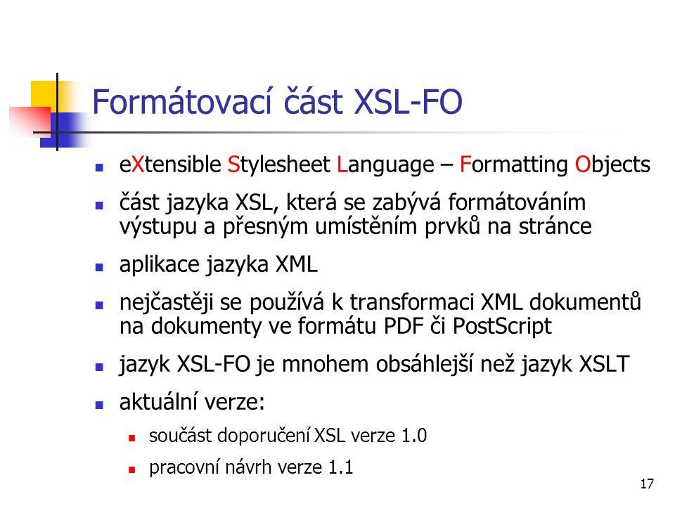 Formátovací část XSL-FO