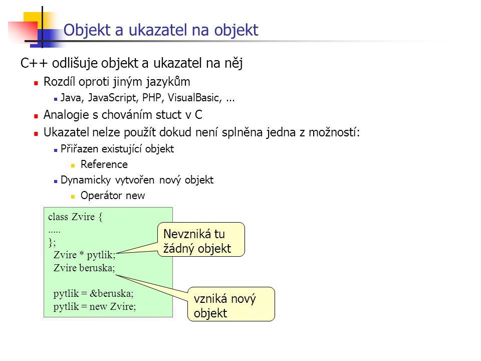 Objekt a ukazatel na objekt