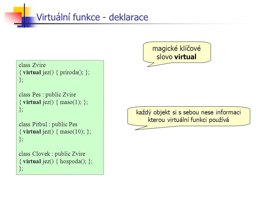 Virtuální funkce - deklarace