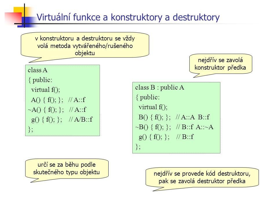Virtuální funkce a konstruktory a destruktory