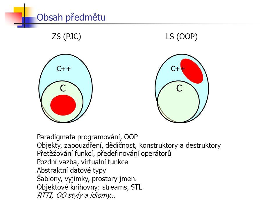 Obsah předmětu C C ZS (PJC) LS (OOP) C++ C++