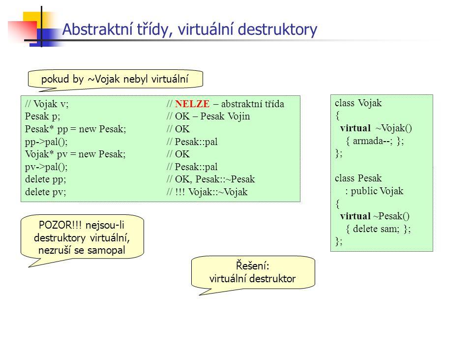 Abstraktní třídy, virtuální destruktory