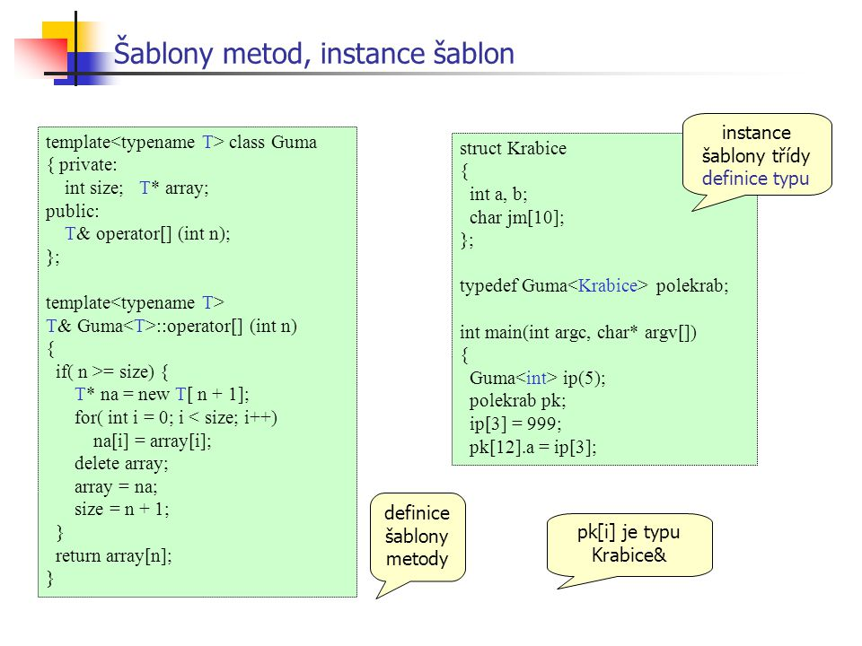 Šablony metod, instance šablon