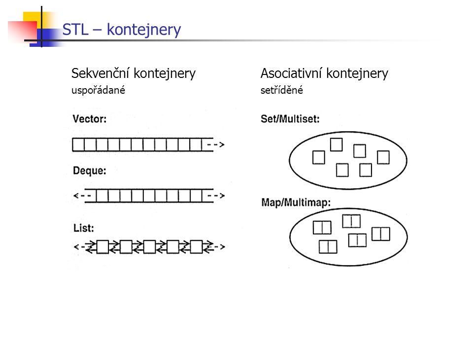 STL – kontejnery Sekvenční kontejnery Asociativní kontejnery