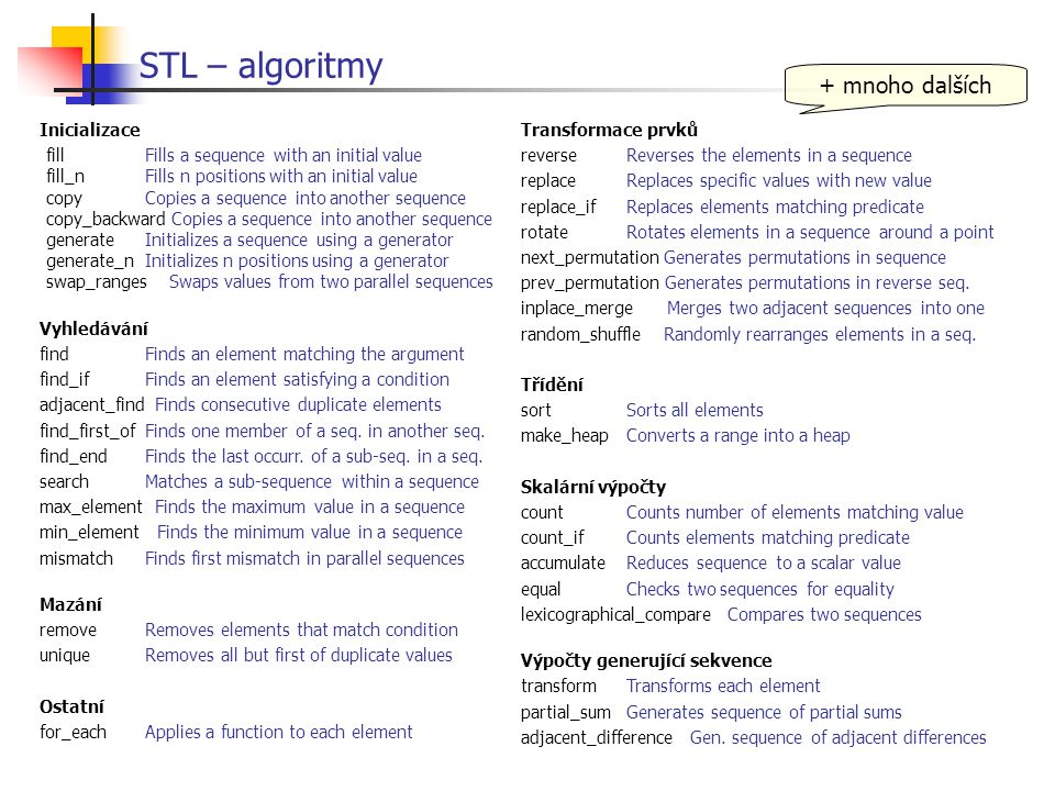 STL – algoritmy + mnoho dalších Inicializace