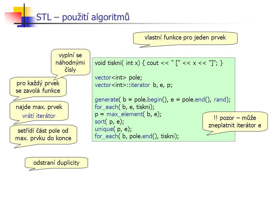 STL – použití algoritmů