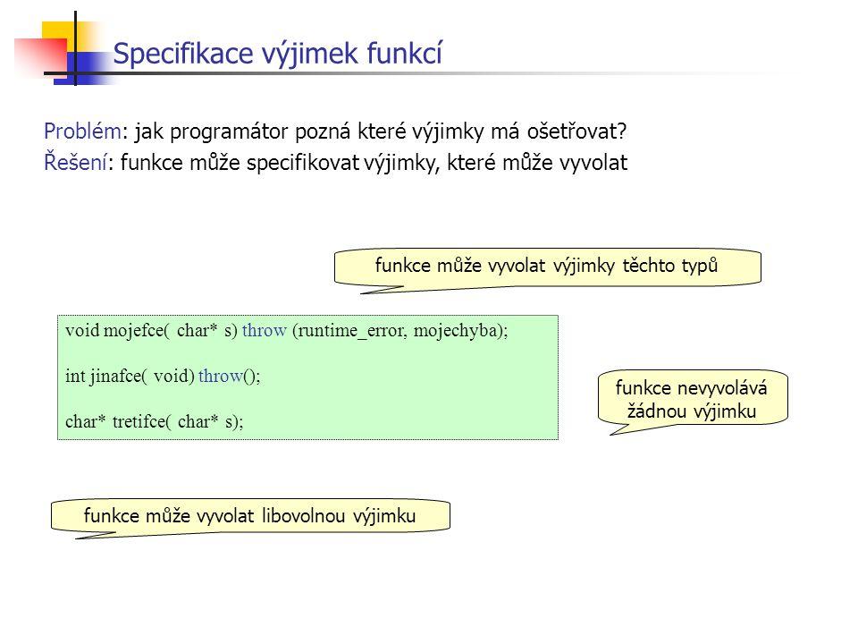 Specifikace výjimek funkcí