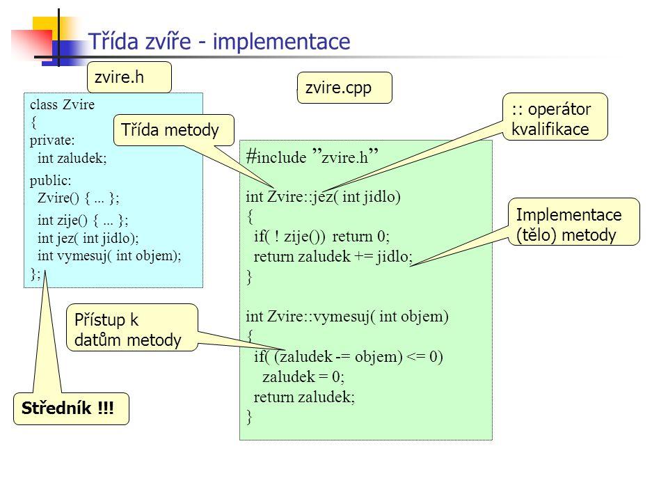 Třída zvíře - implementace