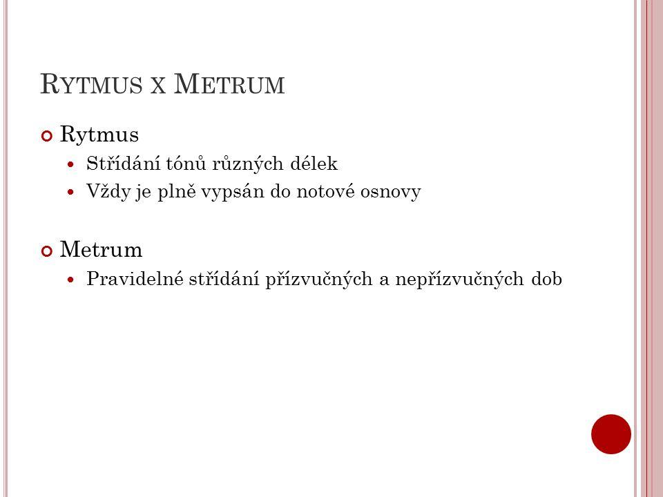 Rytmus x Metrum Rytmus Metrum Střídání tónů různých délek