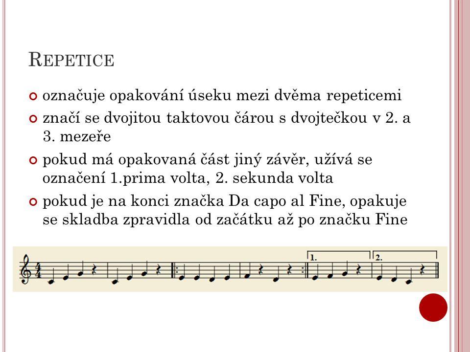 Repetice označuje opakování úseku mezi dvěma repeticemi