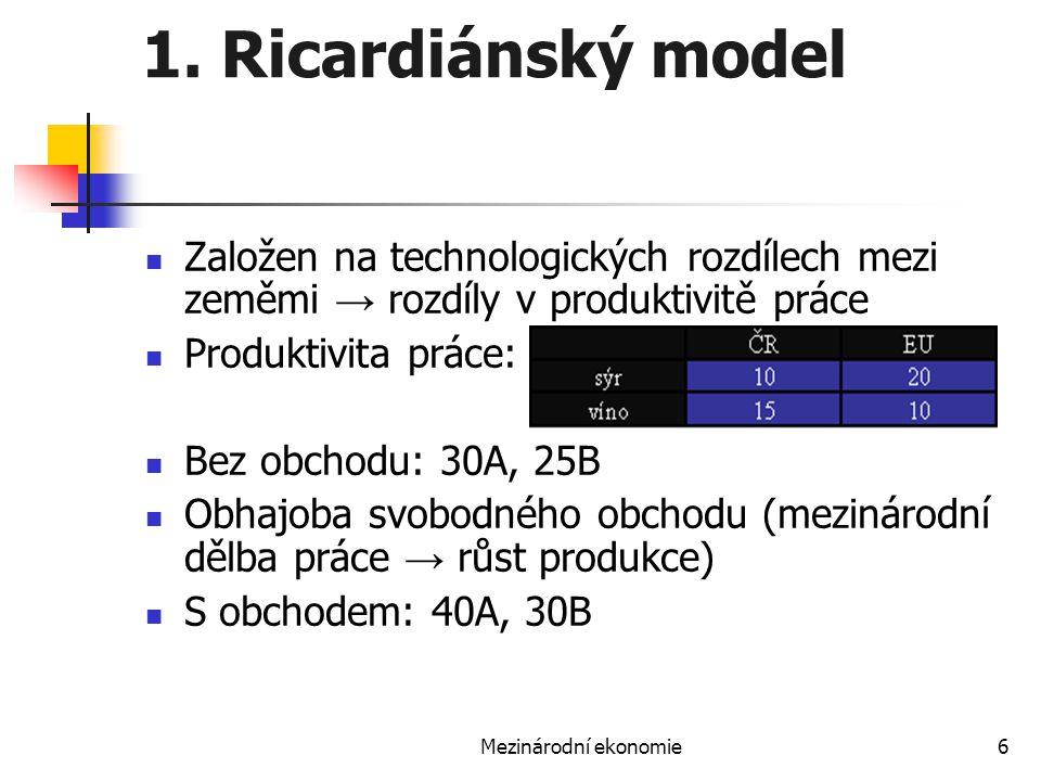 1. Ricardiánský model Založen na technologických rozdílech mezi zeměmi → rozdíly v produktivitě práce.