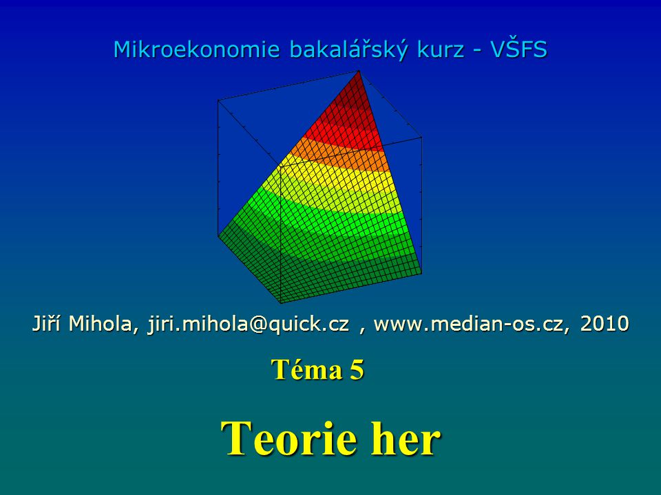 Teorie her Téma 5 Mikroekonomie bakalářský kurz - VŠFS