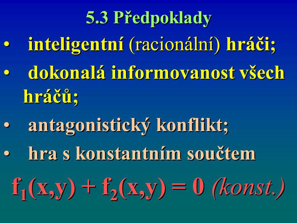 f1(x,y) + f2(x,y) = 0 (konst.) inteligentní (racionální) hráči;