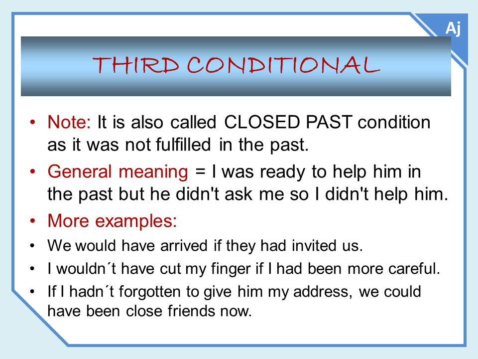 Aj THIRD CONDITIONAL. Note: It is also called CLOSED PAST condition as it was not fulfilled in the past.
