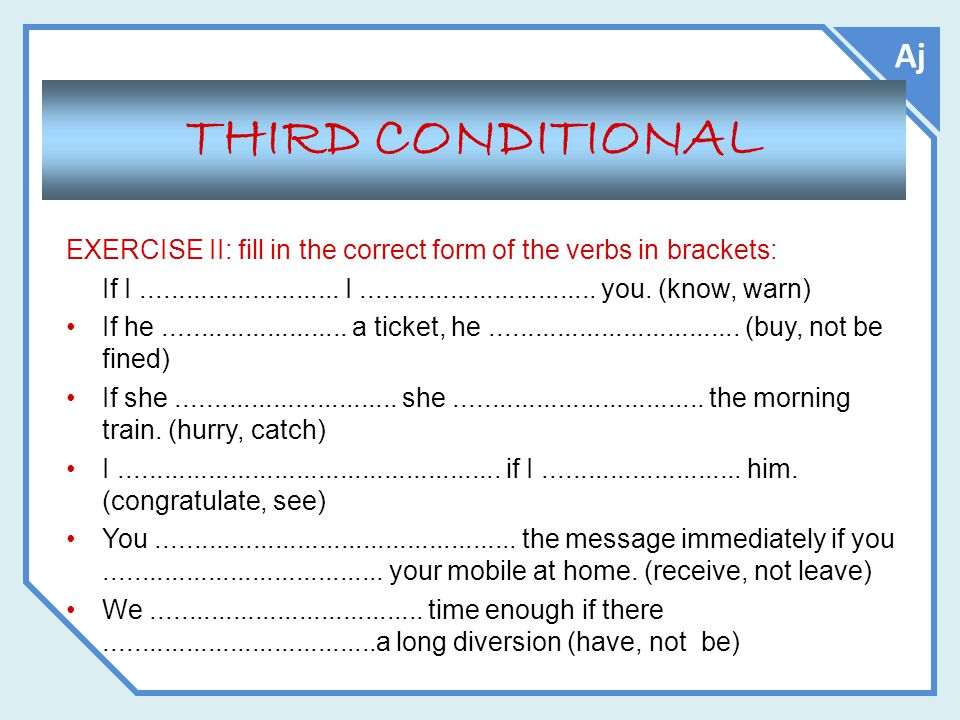 Aj THIRD CONDITIONAL. EXERCISE II: fill in the correct form of the verbs in brackets: