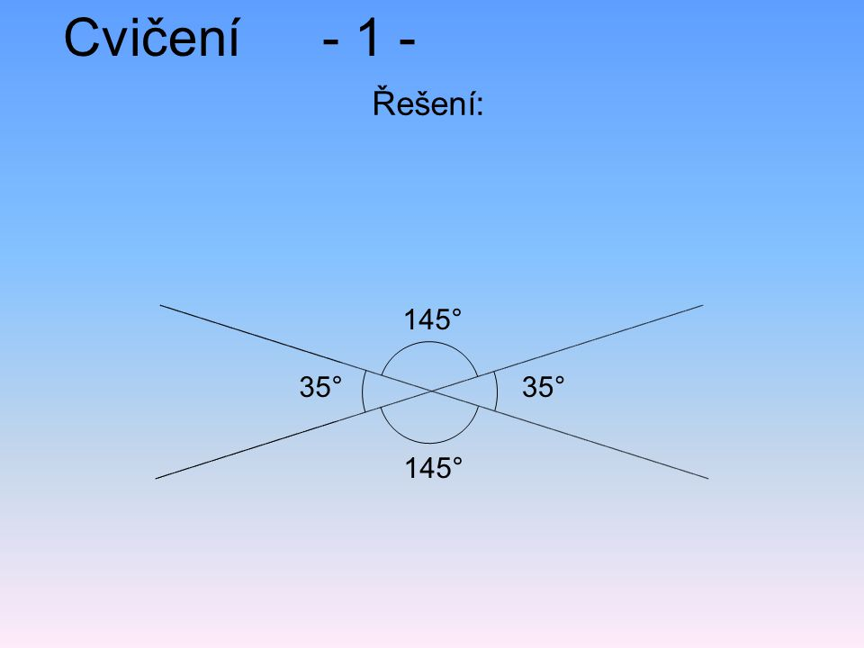 Cvičení - 1 - Řešení: 145° 35° 35° 145°