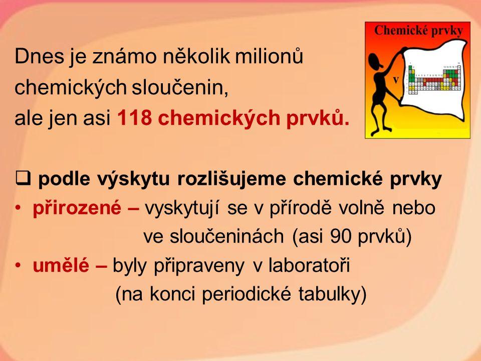 Dnes je známo několik milionů chemických sloučenin,