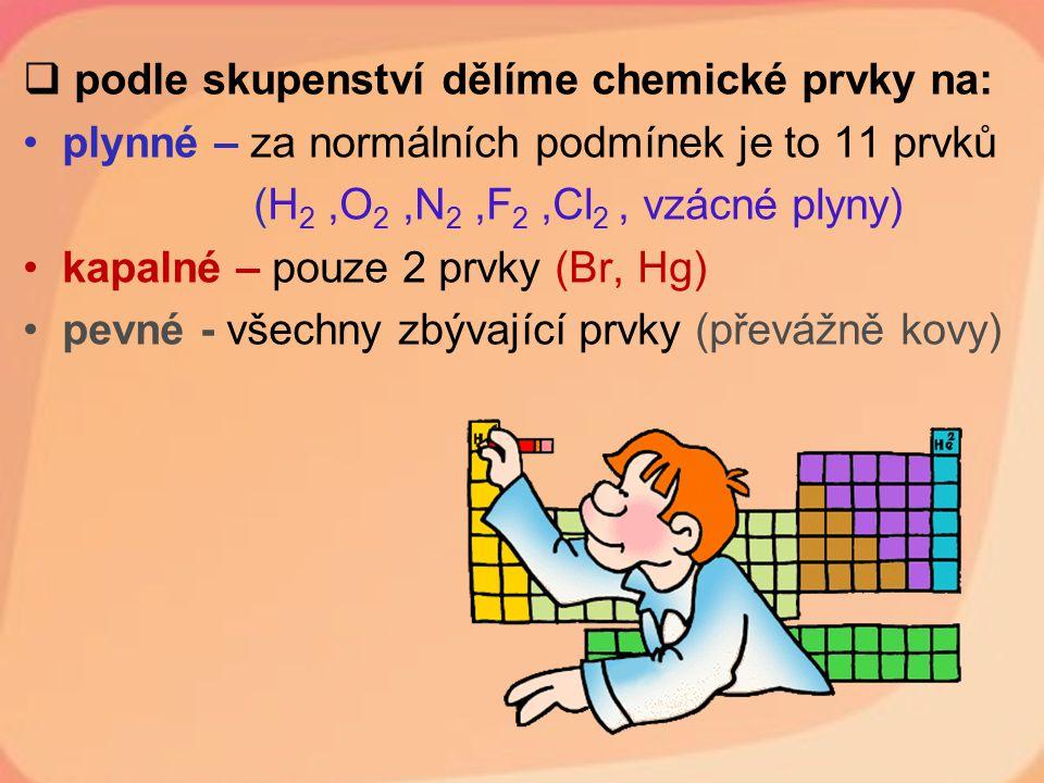podle skupenství dělíme chemické prvky na: