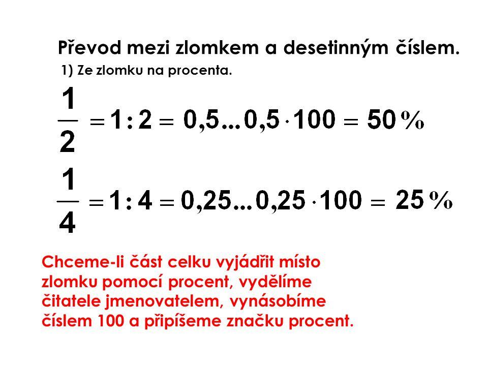 Převod mezi zlomkem a desetinným číslem.