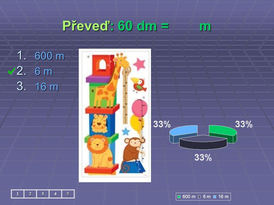 Převeď: 60 dm = m 600 m 6 m 16 m 1 2 3 4 5