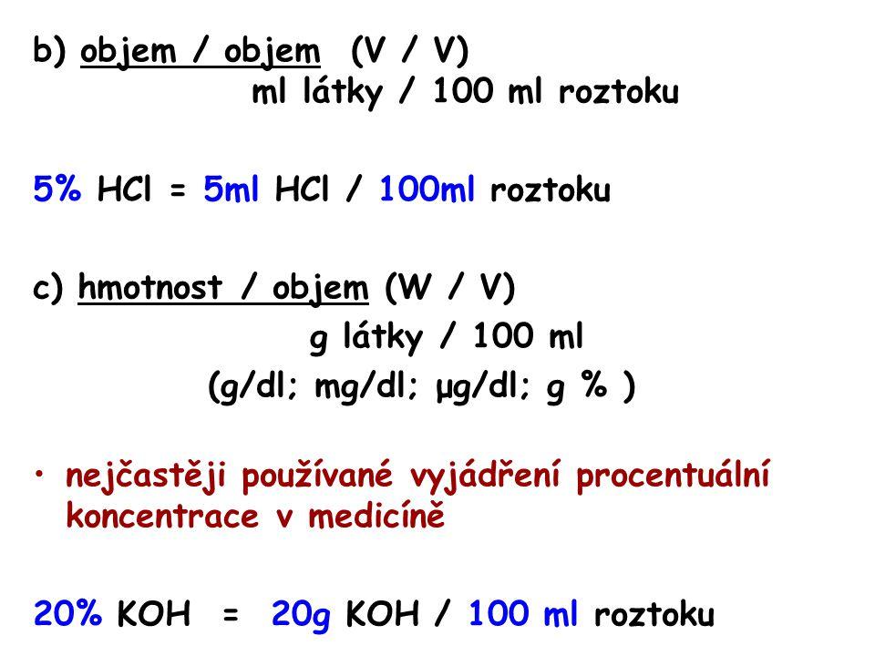 b) objem / objem (V / V) ml látky / 100 ml roztoku