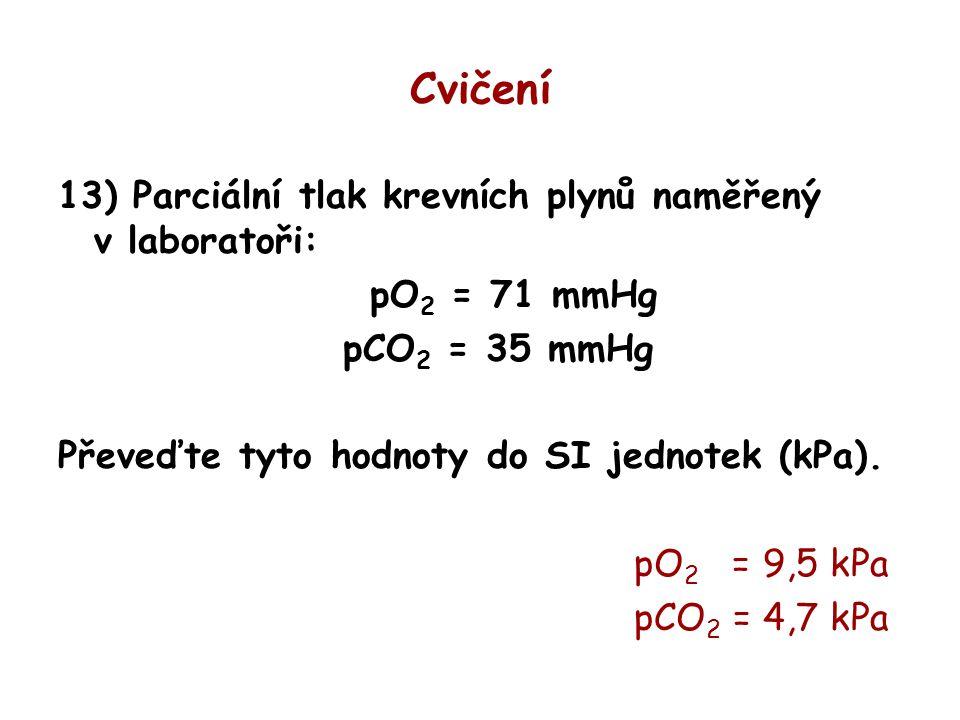 Cvičení 13) Parciální tlak krevních plynů naměřený v laboratoři: