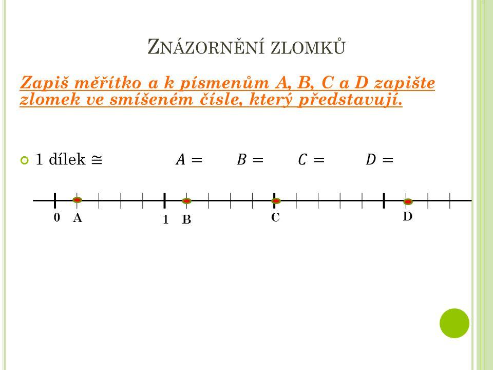Znázornění zlomků Zapiš měřítko a k písmenům A, B, C a D zapište zlomek ve smíšeném čísle, který představují.