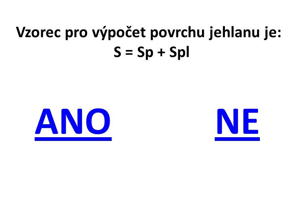 Vzorec pro výpočet povrchu jehlanu je: