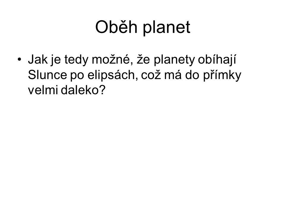 Oběh planet Jak je tedy možné, že planety obíhají Slunce po elipsách, což má do přímky velmi daleko