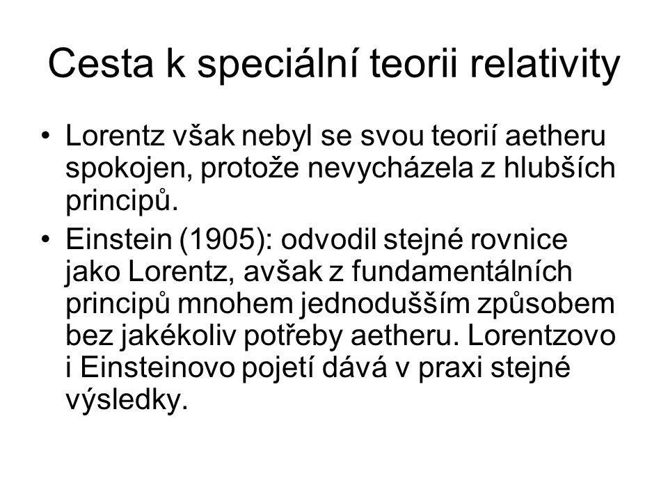 Cesta k speciální teorii relativity