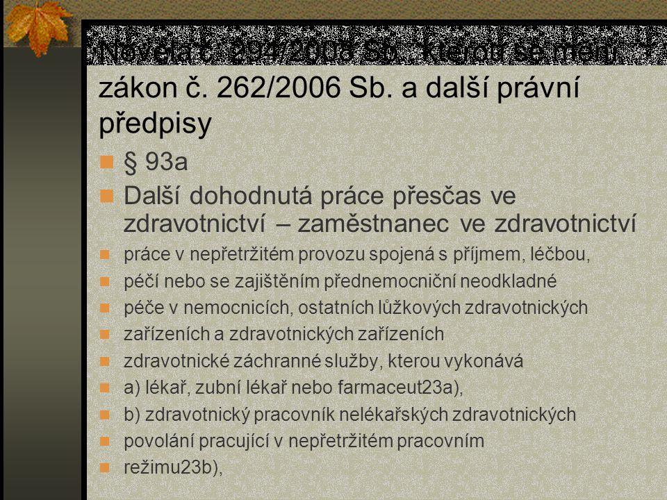 Novela č. 294/2008 Sb. , kterou se mění zákon č. 262/2006 Sb
