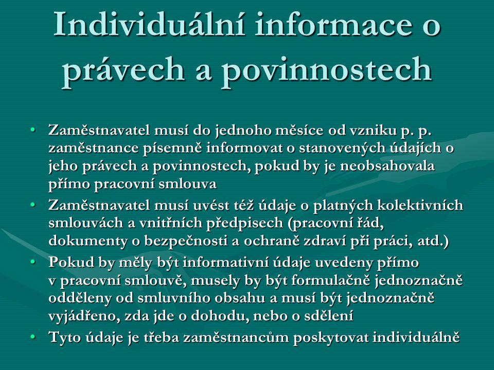 Individuální informace o právech a povinnostech