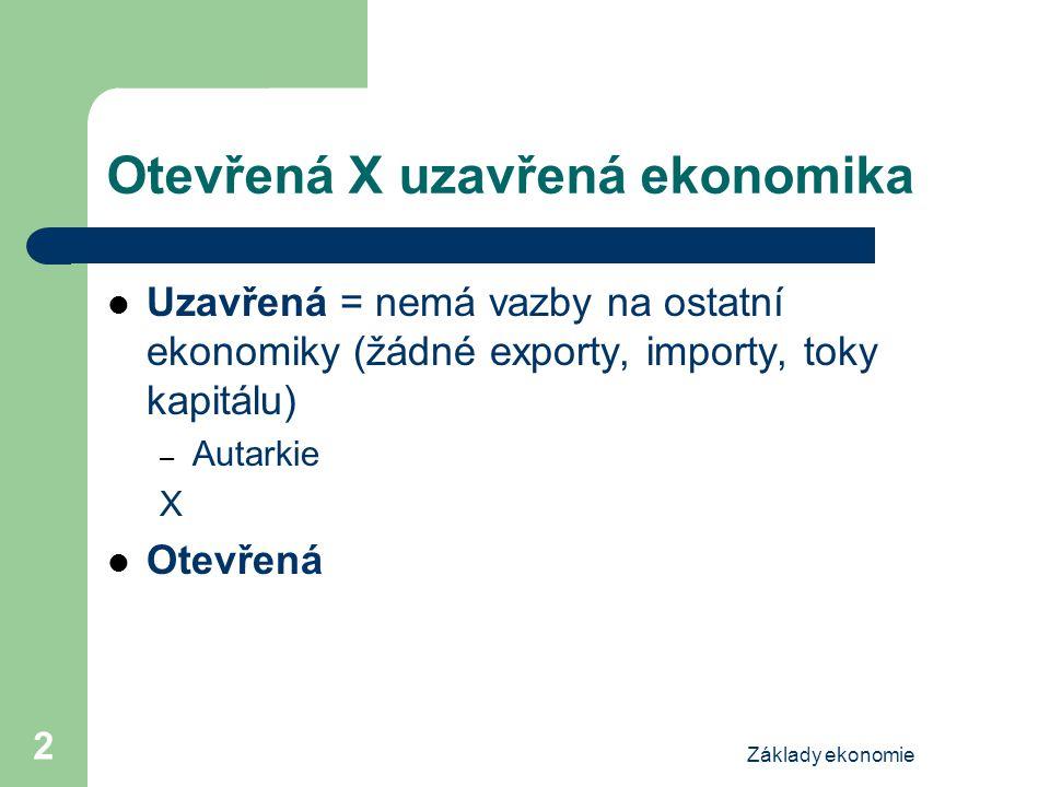 Otevřená X uzavřená ekonomika