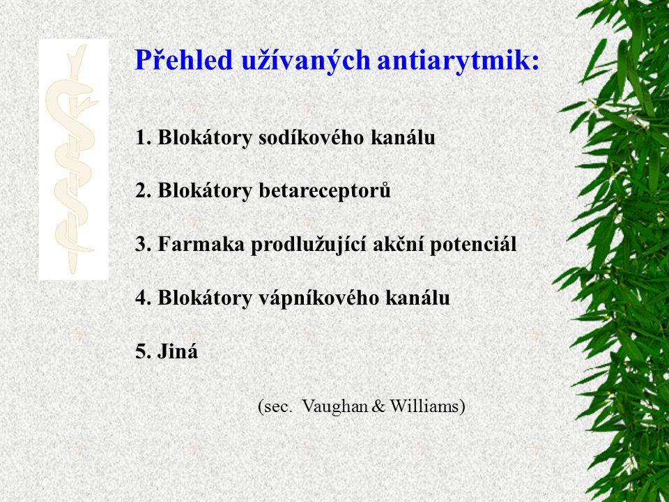 Přehled užívaných antiarytmik: