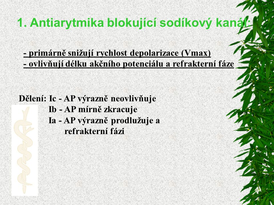 1. Antiarytmika blokující sodíkový kanál: