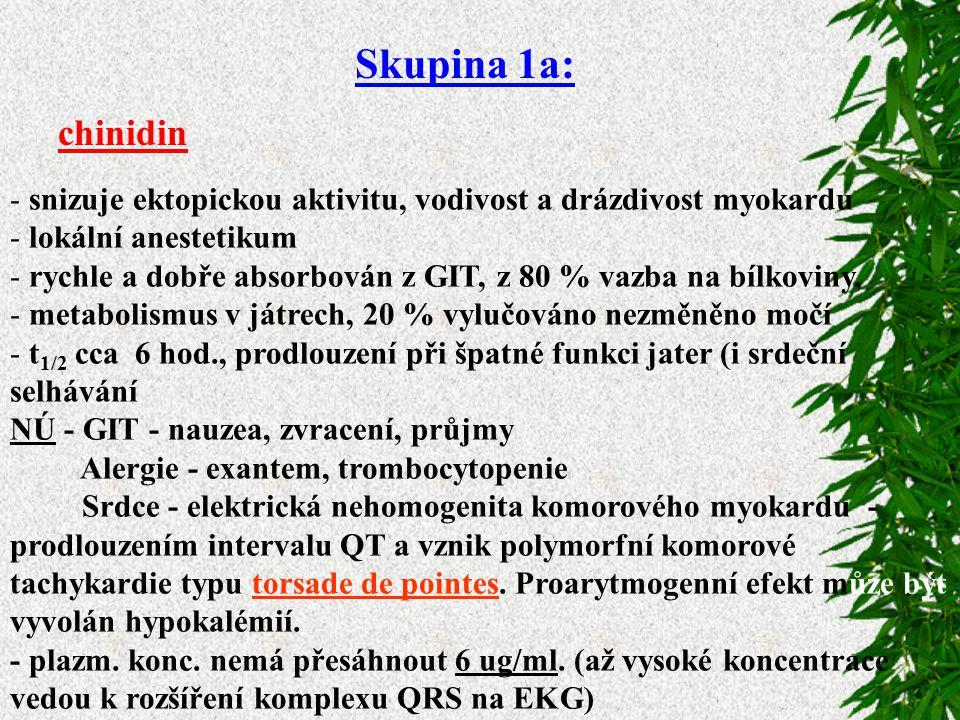 Skupina 1a: chinidin. snizuje ektopickou aktivitu, vodivost a drázdivost myokardu. lokální anestetikum.