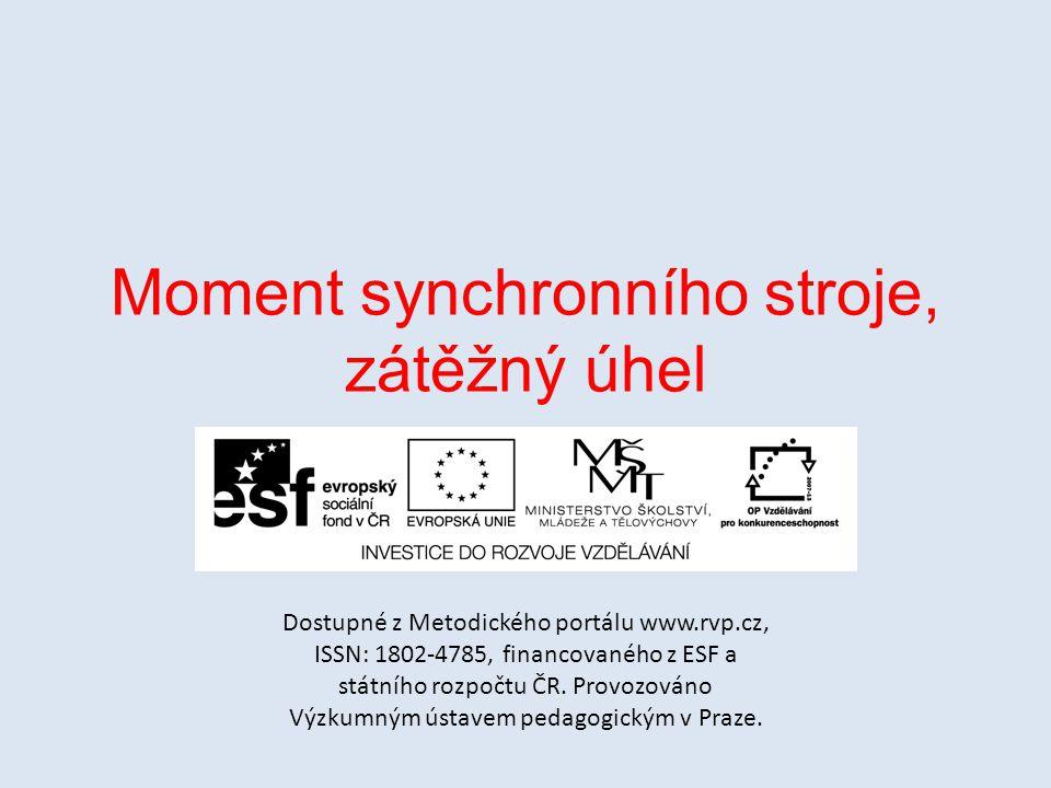 Moment synchronního stroje, zátěžný úhel
