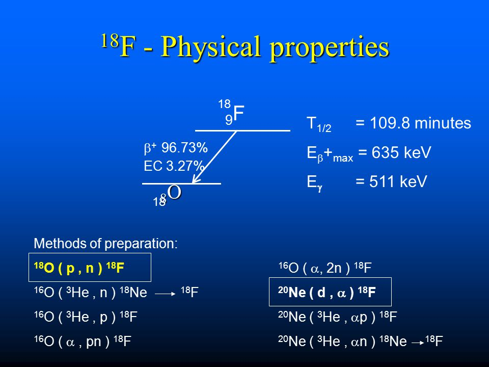 18F - Physical properties