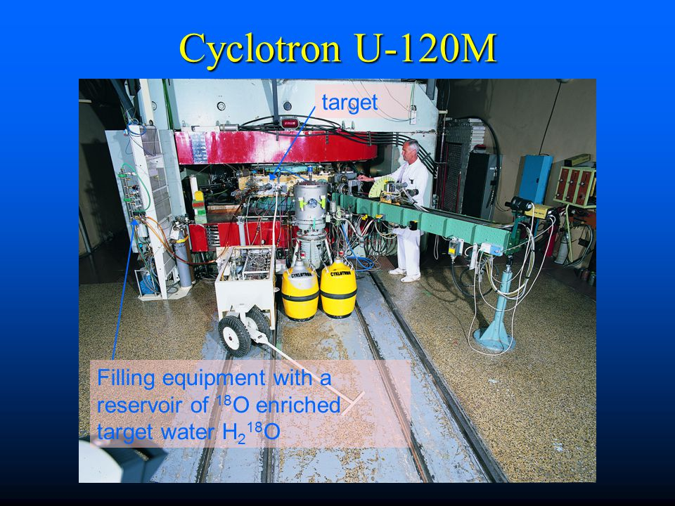 Cyclotron U-120M target Filling equipment with a reservoir of 18O enriched target water H218O