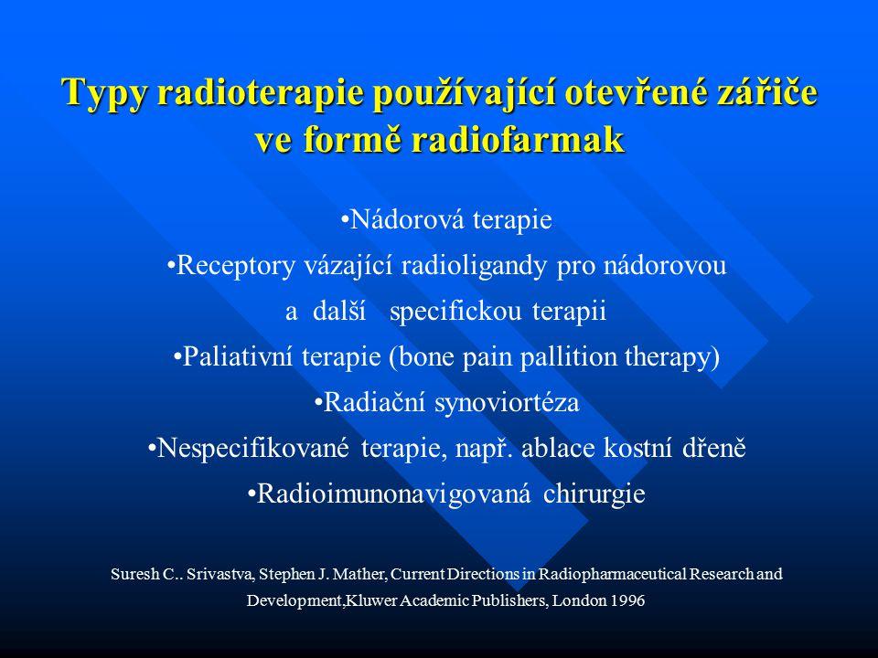 Typy radioterapie používající otevřené zářiče veformě radiofarmak