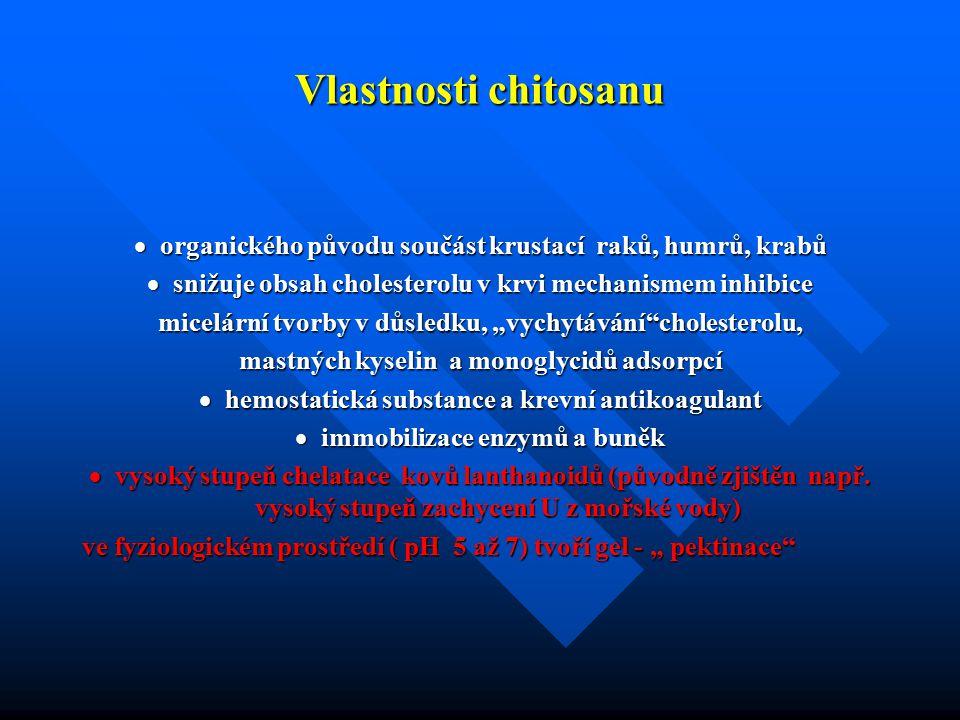 Vlastnosti chitosanu · organického původu součást krustací raků, humrů, krabů. · snižuje obsah cholesterolu v krvi mechanismem inhibice.