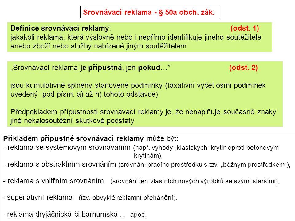 Srovnávací reklama - § 50a obch. zák.