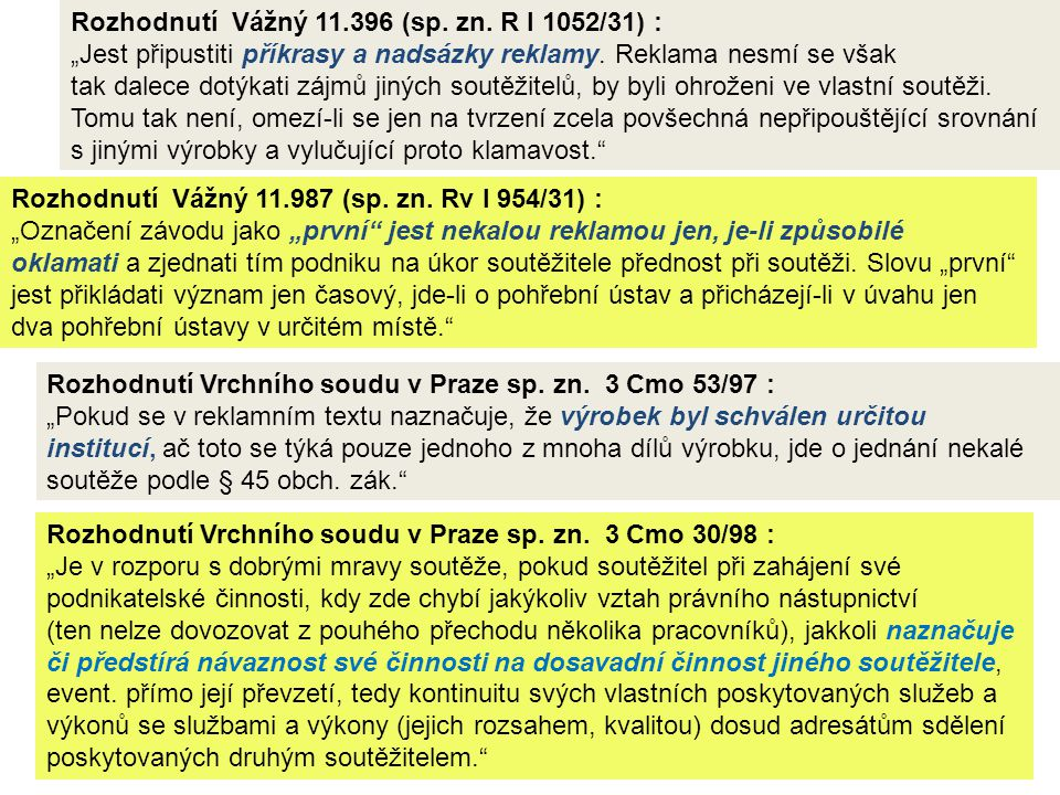 Rozhodnutí Vážný 11.396 (sp. zn. R I 1052/31) :
