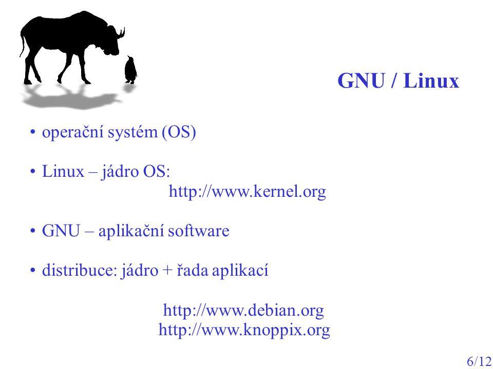 GNU / Linux operační systém (OS) Linux – jádro OS: