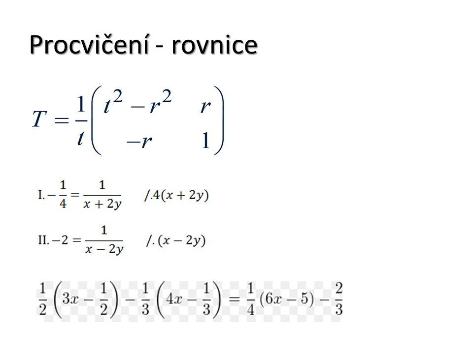 Procvičení - rovnice
